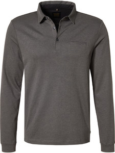 Pierre Cardin Long Sleeve Polo Jacquard Voyage Grey