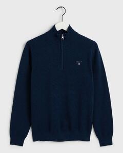 Gant Cotton Piqué Zipper Blue Melange