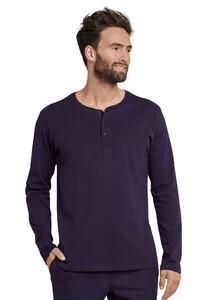 Schiesser Mix & Relax Cotton T-Shirt Knoopjes Plum
