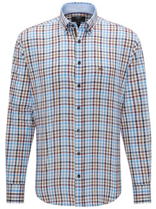 Fynch-Hatton Combi Check Button Down Earth-Blue