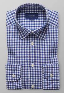 Eton Multi Gingham Check Diep Blauw