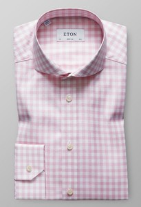 Eton Super Slim Gingham Check Roze