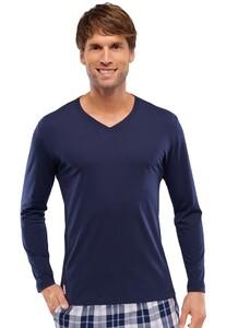 Schiesser Mix & Relax T-Shirt Lange Mouw Donker Blauw