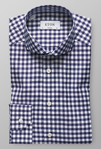 Eton Super Slim Gingham Check Navy