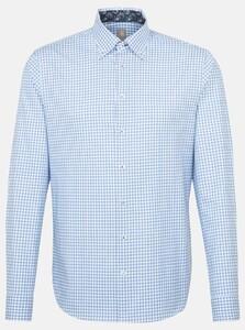 Jacques Britt Check Button Down Overhemd Blauw