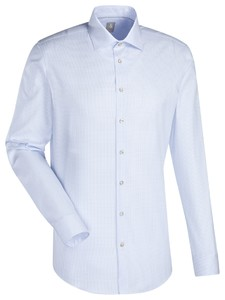 Jacques Britt Custom Mini Check Overhemd Blauw