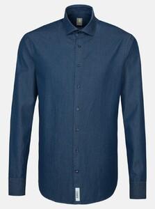 Jacques Britt Denim Smart Casual Overhemd Donker Blauw Melange