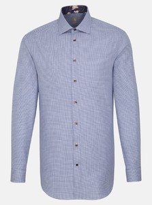 Jacques Britt Extra Long Sleeve Houndstooth Overhemd Navy Blue