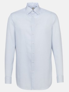 Jacques Britt Fine Pattern Contrast Structure Overhemd Blauw