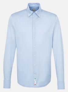 Jacques Britt Jersey Hidden Button Down Overhemd Licht Blauw