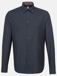 Jacques Britt Melange Button Contrast Overhemd Navy
