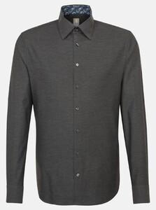 Jacques Britt Melange Button Contrast Overhemd Near Black