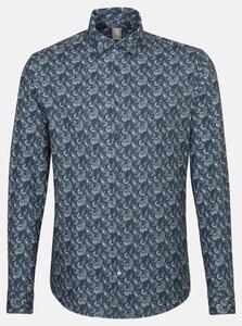 Jacques Britt Paisley Fantasy Overhemd Donker Blauw Melange