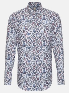 Jacques Britt Poplin Fantasy Paisley Pattern Overhemd Intens Blauw