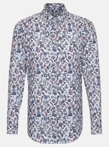 Jacques Britt Poplin Fantasy Pattern Overhemd Intens Blauw