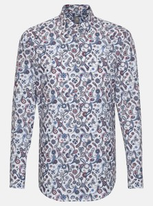 Jacques Britt Poplin Fantasy Pattern Shirt Deep Intense Blue