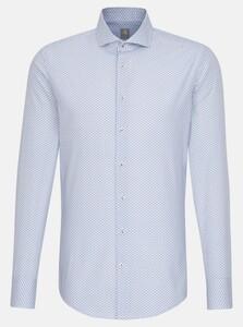Jacques Britt Poplin Fine Pattern Overhemd Blauw