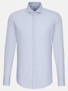 Jacques Britt Poplin Fine Pattern Shirt Blue