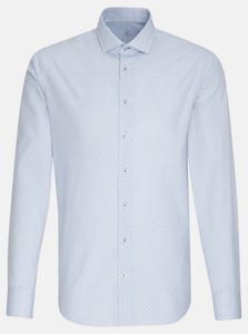 Jacques Britt Poplin Fine Pattern Shirt Deep Intense Blue
