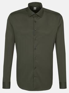 Jacques Britt Poplin Uni Como Overhemd Olive