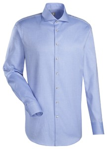 Jacques Britt Slim Structure Kent Overhemd Blauw