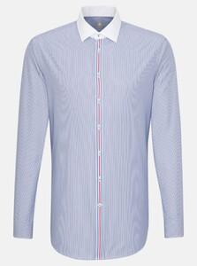 Jacques Britt Stripe Fine Contrast Shirt Sky Blue Melange