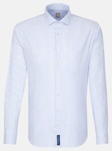 Jacques Britt Striped Smart Casual Overhemd Sky Blue Melange