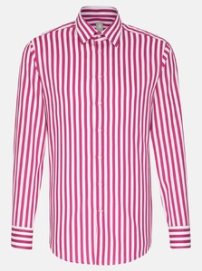 Jacques Britt Structure Stripe Hidden Button Down Overhemd Rood