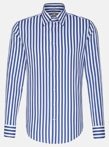 Jacques Britt Structure Stripe Hidden Button Down Overhemd Sky Blue Melange