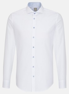 Jacques Britt Subtle Faux Uni Fine Structure Sleeve 7 Shirt White