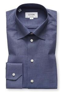 Eton Visgraat Flanel Shirt Avond Blauw