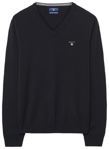 Gant Super Fine Lambswool V-Neck Zwart