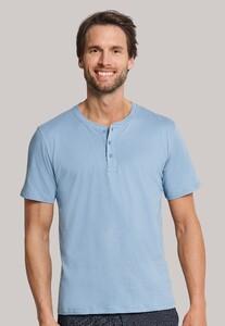 Schiesser Mix & Relax Cotton T-Shirt Knoopjes Licht Blauw Melange