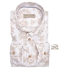 John Miller Abstract Floral Cutaway Non Iron Overhemd Khaki