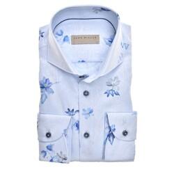 John Miller Blossom-Paisley Tailored Fit Longer Sleeve Overhemd Midden Blauw