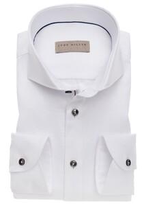 John Miller Button Contrast Mouwlengte 7 Overhemd Wit