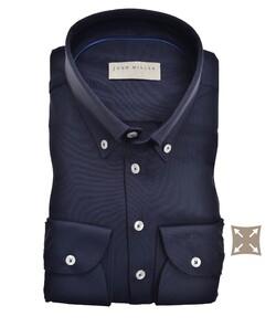 John Miller Button Down Slim Casual Hyperstretch Overhemd Donker Blauw
