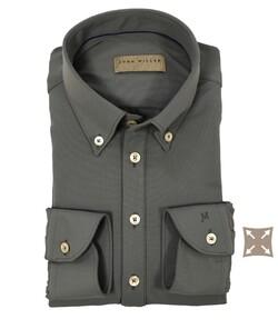 John Miller Button Down Slim Casual Hyperstretch Overhemd Midden Grijs