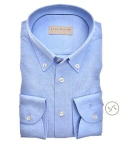 John Miller Button Down Uni Tricot Overhemd Midden Blauw
