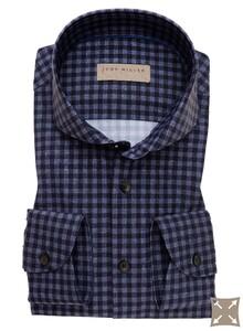 John Miller Check Contrast Stretch Overhemd Donker Blauw