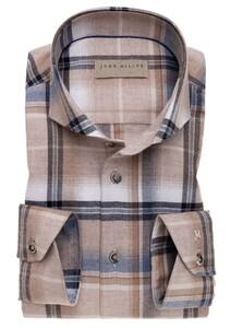 John Miller Cutaway Cotton Check Overhemd Khaki