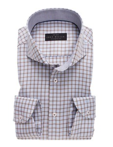 John Miller Cutaway Non Iron Check Shirt Brown