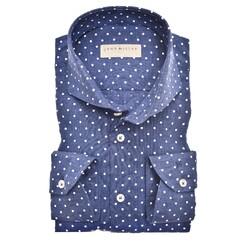 John Miller Dot Tailored Longer Sleeve Overhemd Donker Blauw