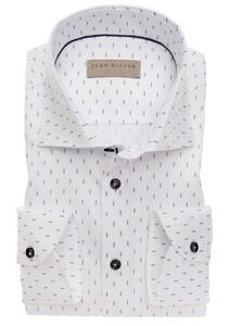 John Miller Dotted Stripe Mouwlengte 7 Overhemd Wit-Blauw