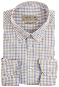 John Miller Easy Iron Button Down Check Overhemd Blauw-Beige