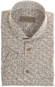 John Miller Fantasy Contrast Pattern Overhemd Groen Melange