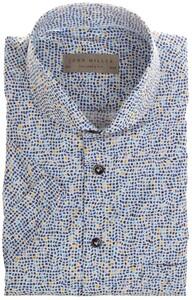 John Miller Fantasy Contrast Pattern Overhemd Midden Blauw