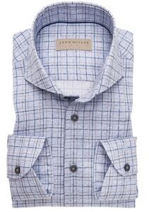 John Miller Fantasy Duo Check Mouwlengte 7 Overhemd Midden Blauw