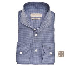 John Miller Faux Squares Slim Fit Overhemd Donker Blauw