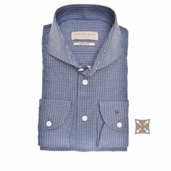 John Miller Faux Squares Slim Fit Shirt Dark Evening Blue